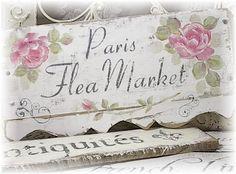 Shabby French Chic Paris Flea mrk Sign 14x7  45.00
