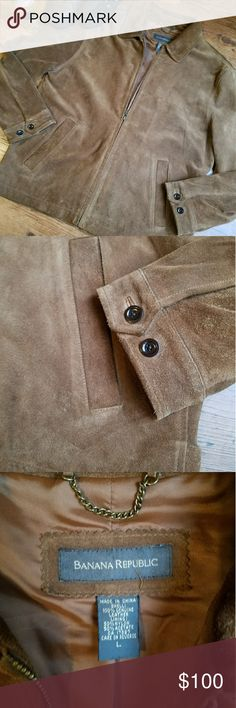 Banana Republic Brown Suede Leather Jacket Men's suede 100% leather jacket. 28in long, 23in chest. Excellent condition. One tiny hole on the back shoulder (see last pic). Classic style! Banana Republic Jackets & Coats