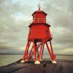 lighthouse: The Groyne, south shields england.