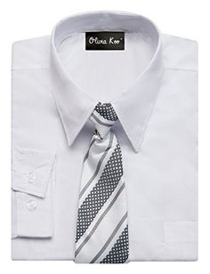 OLIVIA KOO Boys Solid Color Dress Shirt with Matching Tie Set,White,10 #casualoutfits