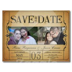 A ticket save the date post card
