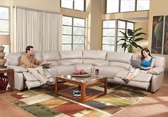 picture of Cindy Crawford Home Auburn Hills Taupe Leather 3 Pc Sectional from Leather Sectionals Furniture