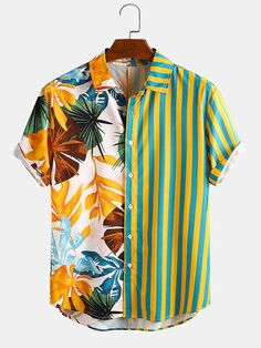 Loose Shirts, Henley Shirts, Indie Outfits, Casual Outfits, Summer Chic, Mixing Prints, Printed Shorts, Mens Printed Shirts, Men Shirts
