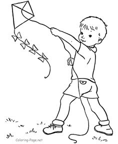 spring coloring page boy and kite - Little Boy Coloring Pages