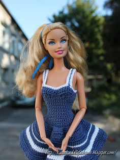 KasatkaDollsFashions: Морское платье крючком для куклы Барби (Barbie dolls)