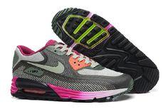 Nye Nike Air Max 90 Lunar Dame Sko Grå Rød Rose med Big rabatt! Ikke gå glipp av