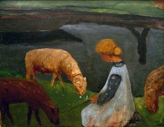 Paula Modersohn-Becker - Figurative Painting - German Expressionism - Young Girl with sheeps - Mädchen mit Schafen