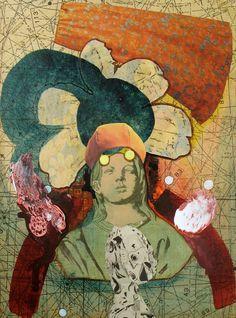 Jutta Scheiner: writers are crazier than painters (Akinom Collage II). Aquarell, Tusche auf Papier auf Sperrholz #Collage #JuttaScheiner #startyourart www.startyourart.de