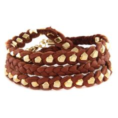 All Wrapped in Chestnut Leather Bracelet ($48) ❤ liked on Polyvore featuring jewelry, bracelets, leather bangle, wrap jewelry and leather jewelry