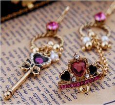 Jewerly: Fairy Angel Dream Womens/Ladys/Girls Key Crown Asymmetric Long Earrings Dangle