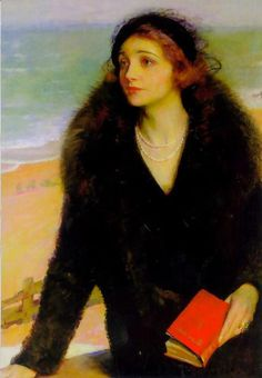 """Ursula Bloom on the Promenade at Walton-on-the-Naze"" by Charles A. Buchel, (British, 1872-1960)"
