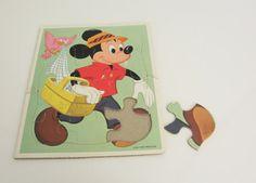 Vintage 1970s Mickey Mouse Picnic  Disney Puzzle by SandyLeesAttic, $12.95