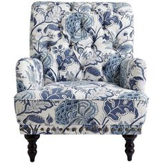 Take a seat in a flowering meadow, offered here in a timeless silhouette. Overstuffed and tufted, this handcrafted armchair comes with vintage charm to spare: Rolled back and arms, ornamental nailhead trim, self-welting and turned hardwood legs. Furniture, Blue Living Room, White Chair, Armchair Vintage, Blue Living Room Decor, Armchair, Shabby Chic Table And Chairs, Blue White Decor, Upholstered Chairs