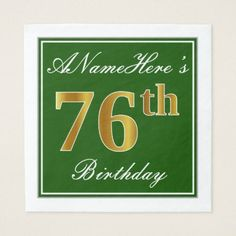 Elegant Green Faux Gold 76th Birthday  Name Napkin - kitchen gifts diy ideas decor special unique individual customized