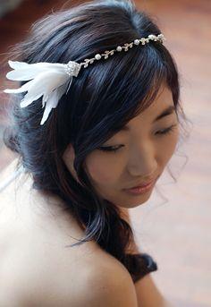 Silver rhinestone feather headband - Aurelia. $134.00, via Etsy.