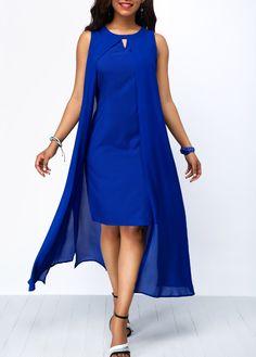 Long Maxi Dresses Royal Blue Overlay Keyhole Neckline Chiffon Dress Source by cingilayla Blue Chiffon Dresses, Royal Blue Dresses, Tight Dresses, Sexy Dresses, Casual Dresses, Cheap Dresses, Women's Fashion Dresses, Dress Outfits, Fashion Pants