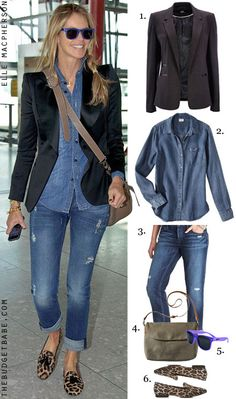 Give the proverbial Canadian tuxedo a stylish upgrade by adding a black blazer and leopard smoking flats like the lovely Elle Macpherson.  Get the celebrity look for less: 1. Wallis Blazer $70 2. Merona Chambray Shirt $20.98 3. LOFT Boyfriend Jeans $79.50 4. Merona Nubuck Crossbody Bag $24.99 5. Kameleonz Violet Frames $9.99 6. Forever 21 Leopard Flats $22.80