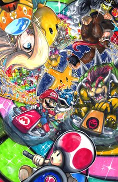 Print of Mario and the gang racing through rainbow road from the new Wii U game, Mario Kart 8 Super Mario Bros, Super Smash Bros Brawl, Mario Y Luigi, Mario Kart 8, Wii U, Fan Art, Paper Mario, Donia, Mario Brothers