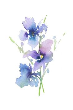 """Iris 1"" Purple art watercolor painting in violet, pink and green. This abstract print would be a lovely gift for her or addition to a nursery or little girl's room. Original watercolour art print by Asara Design."