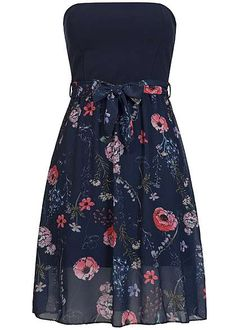 Styleboom Fashion Damen Mini Bandeau Kleid Bindeband Blumen Muster Brustpads blau Styleboom Fashion Kleider | 77onlineshop im Online Shop preiswert kaufen