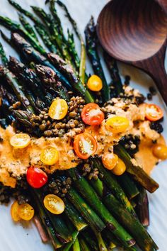 roasted asparagus with romesco sauce and french lentils | vegan recipe via http://willfrolicforfood.com