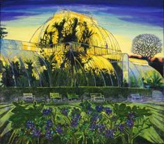 Simon McWilliams (Northern Irish, b. 1970), Kew Gardens Sunset. Oil and mixed media on linen, 54 x 60 in.