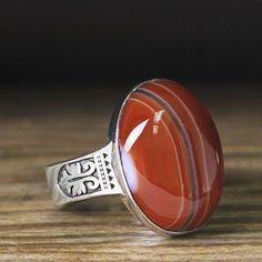 Men Ring 925 K Sterling Silver Red Agate Natural Gemstone Ring 9.5 US size #mensring #agatering