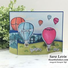 Stamping Sunday Blog Hop Above the Clouds Small Balloons, Stampin Up Catalog, Above The Clouds, Fun Fold Cards, Card Making Inspiration, Greeting Cards Handmade, Stampin Up Cards, I Card, Note Cards