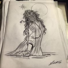 Just learned about her. M Tattoos, Life Tattoos, Flower Tattoos, Sleeve Tattoos, Yemaya Orisha, Witchcraft Tattoos, Conceptual Drawing, Simple Line Drawings, Madonna