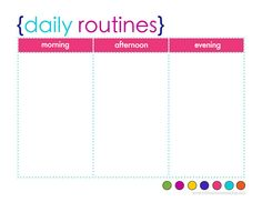 free colorful daily routine planner printable: this is what I'm using to plan out my mornings/evenings at home better...and hoping it helps me keep the kids on track too! :)