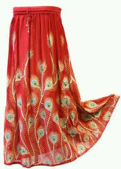 Lungta Hobo Hippie Bohemian Long Peacock Feather Red Skirt India SKWT | eBay