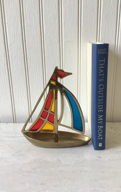BRASS SAILBOAT HANDCRAFT SHIP NAUTICAL DECOR MARINE COLLECTIBLE WITH WOODEN BASE