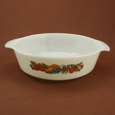 Fire King Natures Bounty Fruit Casserole Dish 2 Q Vtg