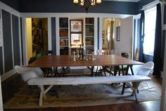 Slate blue/grey dining room with extra large table - David's Museum-Style Home