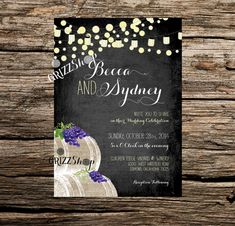 Chalkboard Vinyard Wedding Invitation Set by GrizzShop on Etsy