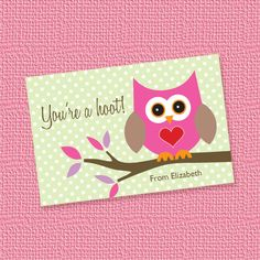 Pink Owl Childrens Mini Valentines Cards or Tags Personalized Printable (Digital File). $7.00, via Etsy.