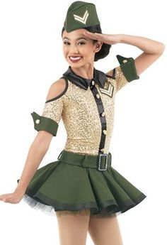 Military inspired dress has a sequin spandex bodice with cold shoulder cutouts Black stretch satin collar and placket Twill hat, cuffs, belt, and top skirt Net underskirt Attached shorts Glitter free! Modern Dance Costume, Dance Recital Costumes, Tap Costumes, Girls Dance Costumes, Dance Outfits, Dance Dresses, Halloween Costumes For Girls, Baile Charleston, Holiday Suits
