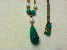 Antique Green Peking Glass and Pearl Necklace by SweetBettysBling, $30.00