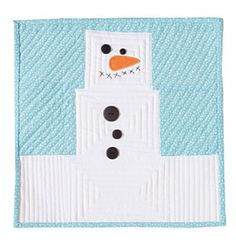 Free Quilt Pattern: Little Marshmallow..He is delightfully square – reminding us of those whimsical marshmallow snowmen, hence the name. All he needs is a few seams sewn, five buttons attached, Xs for the mouth and a quick appliqued nose