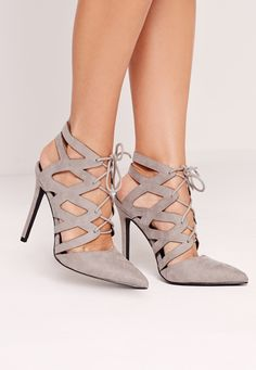 Missguided - Cross Strap Lace Up Court Shoes Grey
