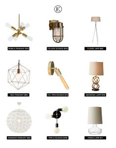 Unique Lighting Under $150 #theeverygirl