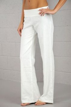 MY FAVORITE White Linen Wide Leg Fold-over Boho Pants Light Secret Resort L