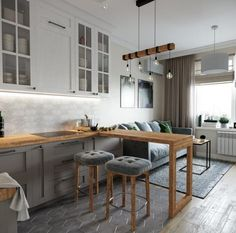 Kitchen Layout Design with Marble backsplash, soap stone countertops and white cabinets Small Apartment Interior, Condo Interior, Apartment Design, Kitchen Interior, Interior Design Living Room, Kitchen Decor, Kitchen Layout, Kitchen Design, Studio Kitchen