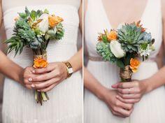 orange, blue green and white bouquet