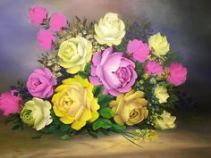 Roses love  Flowers oil on canvas Size 15F