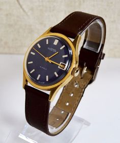 Men's Watch Vintage Gold-plated 1970s USSR Wostok, Rare Luxury Soviet Watch #Wostok #LuxuryDressStyles #Wostok #Luxury #Gold #watch #gifthim #forhim #collectibles
