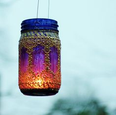 """""""Hand Painted Mason Jar Lantern,Deep Plum Tinted Glass with Golden Filigree Surface. nspired by Moroccan decor details and henna patterns, LITdecor produces quality candles and lanterns to spice up your home or event decor. Mason Jar Lanterns, Hanging Lanterns, Mason Jar Lamp, Jar Candle, Candle Wax, Candle Holders, Hanging Jars, Candle Lanterns, Votive Candles"""