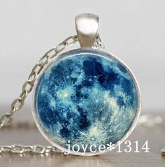 Vintage style hand made silver and glass Blue Moon necklace, pendant is about an inch in diameter and comes with a chain. Moon Jewelry, Resin Jewelry, Cute Jewelry, Jewelry Accessories, Jewelry Necklaces, Gold Jewellery, Jewelry Sets, Silver Jewelry, Moon Necklace