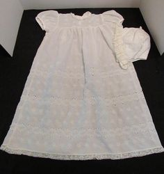 Vintage Baby Girl's White Eyelet Christening Gown With