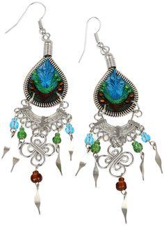 Stainless Steel Peruvian Blue, Green, Brown Silk Thread Beaded Dangle Earrings